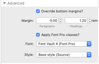 Markdown FontPro Classes